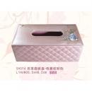 y12124 比得兔系列-珠光格菱紋系列-皮革面紙盒/格菱紋粉色