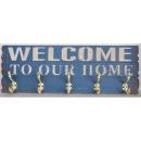 藍色仿舊WELCOME 木掛鉤壁架  y15120 藝術招牌設計-鐵雕招牌系列