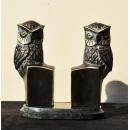 雕塑動物擺飾 (y15094 銅雕信夾貓頭鷹組