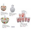 餐具系列y13629 新品目錄- 玻璃罐.玻璃花圖杯壺組系列-1杯6壺組