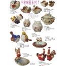 陶瓷手繪擺飾系列y13698 新品目錄- C701陶瓷手繪擺飾系列-俏皮對雞擺飾