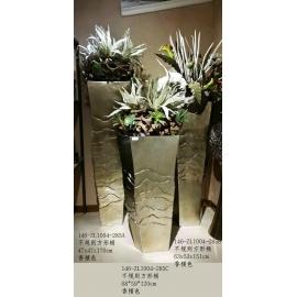 不規則方形落地花器 香檳色 y14978 造型花藝花器 三入一組