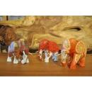 熱帶水果彩繪木雕大象-三入-紅毛丹-草莓-柳橙花紋-y15159-木雕(已售出)--可預購
