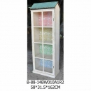 仿舊屋型單門玻璃高櫃-y15147-白色實木典雅地中海風格