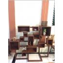 柚木幾何方塊收納書櫃y15175傢俱系列-實木家具(訂製品)