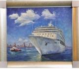 y12549 油畫- 風景油畫系列-大船入港 (可指定尺寸訂製)