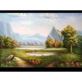y00020 油畫 美麗仙境(r554)