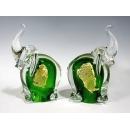 玻璃水晶 綠色金箔象(一對)  y12767 水晶飾品系列