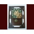 楓葉陶板掛鐘 y01304 時鐘.溫度計.鏡子 溫度計.壁掛鐘