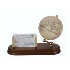 實木商用多張型名片座地球儀-仿古色(英文版) y01323 立體雕塑.擺飾 地球儀系列--無庫存
