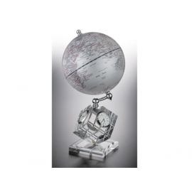 精緻多功能時鐘溫度溼度計地球儀 y01328 立體雕塑.擺飾 地球儀系列--無庫存
