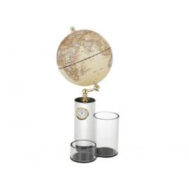 筆筒造型時鐘功能地球儀 y01331 立體雕塑.擺飾 地球儀系列--無庫存