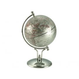 時尚造型亮面地球儀-銀色 y01336 立體雕塑.擺飾 地球儀系列--無庫存