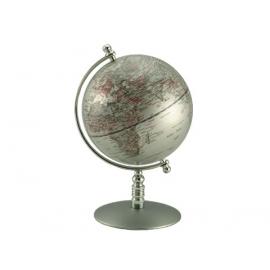 銀色圓柱底座地球儀 y01344 立體雕塑.擺飾 地球儀系列 --無庫存