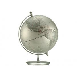 銀色圓形霧面底座地球儀LA-1121-1(英文版) y01364 立體雕塑.擺飾 地球儀系列 --無庫存
