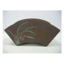 y01616蘭花扇型彩繪陶器