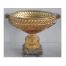 y03319 裂紋玫瑰花器-描金水果花瓶