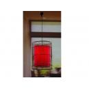 y03615 燈罩 藤編紅色布燈罩