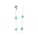 y03089-布品家飾-布品擺飾-五瓣花吊串(藍)