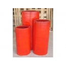 y03773 花器-陶瓷花器-橢圓柱形紅花器三件組