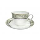 y09376 咖啡杯組--凡爾賽骨瓷六杯六盤附金架