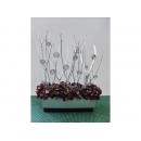 y09757 花藝設計-人造花銀枝紫繡球盆花