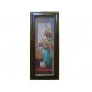 義大利長花版畫EK-1642(老木頭框)(兩款)(y09873-46*106cm-含框尺寸)