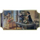 義大利金仕女橫版畫EK-1005(y09880-104*54cm含框)