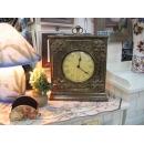 銅製方型菊花造型桌鐘 y10057 時鐘.溫度計.鏡子 桌鐘