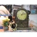 銅製拱門雕花造型桌鐘 y10058 時鐘.溫度計.鏡子 桌鐘