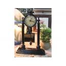 銅製雙柱造型桌鐘 y13464 時時鐘.溫度計.鏡子 桌鐘 (無庫存)