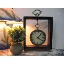 木質方型桌鐘(小) y10061 時鐘.溫度計.鏡子 桌鐘