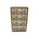 y10192-傢俱-木製貼圖傢俱-姊弟熊貼圖傢俱-桌上型四抽