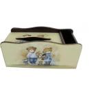 y10194-傢俱-木製貼圖傢俱-姊弟熊貼圖傢俱-面紙盒加筆筒(停產)