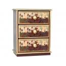 y10241-傢俱-木製貼圖傢俱-蜜蜂熊貼圖傢俱-桌上三抽櫃