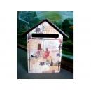 y10719-木製貼圖-玫瑰-屋型信箱