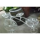 y10851-花器系列-鐵製花器-白腳踏車花架(6011D2195)