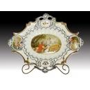 y11278 茶餐玻璃系列- 簡歐新磁瓷器-陶瓷菱形果盤配金色小盤架