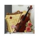 y11285 立體壁飾系列-音樂舞蹈-小提琴玫瑰大壁掛---無庫存