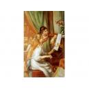 音樂題材-彈琴的少女-y11485-畫作系列-油畫-油畫人物