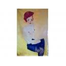 裸體人物-少女就座-y11486-畫作系列-油畫-油畫人物