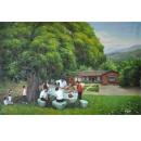 y11598 畫作系列 油畫 農村系列 樂活茶園生活