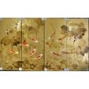 y11602 版畫-手繪金箔版畫-荷花錦鯉(金)(40x120cm  4入1組)