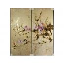 y11607 版畫-手繪金箔版畫-花(銀)(二幅一組)