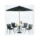 y11609 戶外休閒傢俱-102cm圓桌(半鋁)+9尺木傘+藤椅4張+8kg玫瑰傘座