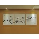 y11623 畫作系列 抽象油畫 黑白極簡 寒梅寄情 3幅一套
