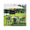 y11629 戶外休閒傢俱-120cm玫瑰大腳桌+9尺木傘(金黃)+玫瑰扶手椅(單)