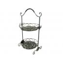 y11633 鐵材藝術-鍛鐵圓形雙層置物籃(點心架)