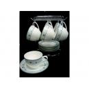 y11719 咖啡茶具-蘿蔓尼骨瓷六杯六盤附架咖啡組
