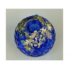 y11816 金工飾品設計-藍色玻璃花瓶.花器